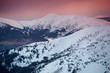 Mountain in the winter time duging sunset.. Natural landscape in the winter time