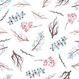 Seamless Pattern of Watercolor Tree Branches and Berries - 181410203