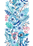 Seamless Border of Watercolor Blue Flowers Red Berries - 181410227
