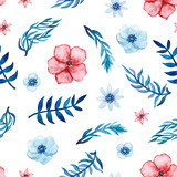 Seamless Pattern of Watercolor Red and Blue Flowers - 181410288