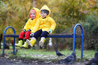 Children in the autumn park walk