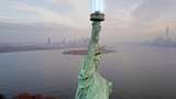 Aerial view of Statue of Liberty with Lightsaber 4k - 181421269