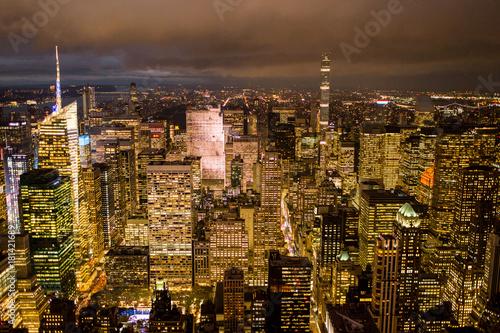 Staande foto New York NYC Skyline at night cityscape beautiful manhattan new york city