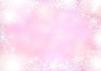 Gradient mixed purple winter paper background with snowflake border