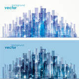 Night and day city skyline, vector illustration - 181426404