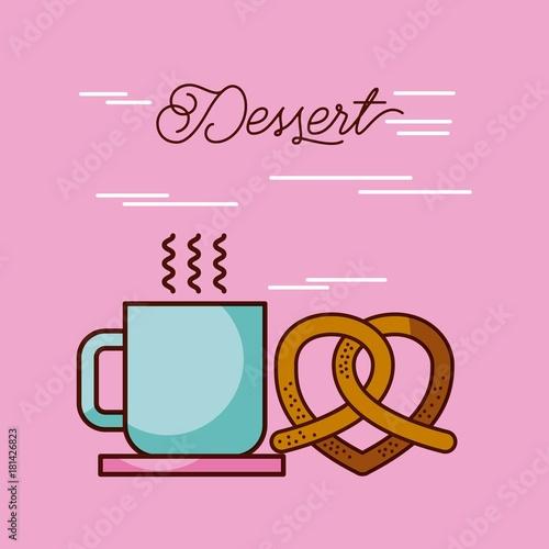 dessert coffee cup hot and pretzel vector illustration