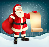 Vector vintage Christmas greeting card with Santa Claus holding a sack full presents and a signboard.