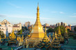 Scenery view of Sule pagoda one of an iconic Buddhist landmark in the centre of Yangon township of Myanmar.
