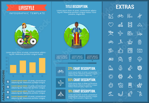 Lifestyle infographic template, elements and icons. Infograph includes customizable graphs, charts, line icon set with healthy food, sport exercise, media, training machine, leisure activities etc.