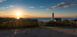 Panorama of Portland Lighthouse at sunrise in Cape Elizabeth, Maine, USA.