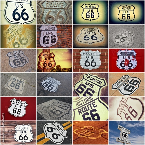 Deurstickers Route 66 Old Route 66 signs collage.