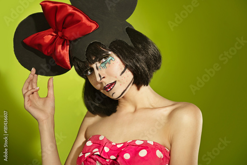 Comic actress with a red bow Poster