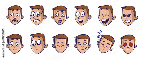 Set of head images with different emotional expressions. Emoji cartoon feces conveying verious emotions. Isolated vector illustration on white background. Comic style.
