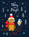 merry and bright winter xmas christmas happy new year greeting card with cute funny owl and bird sitting on a tree branch in the night cartoon forest