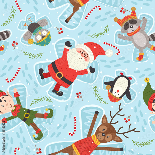 Cotton fabric seamless pattern with Christmas characters make snow angel - vector illustration, eps