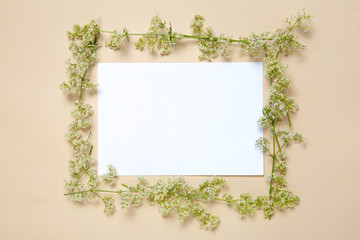 A floral frame in a circle of a white sheet of paper lies on a beige background.