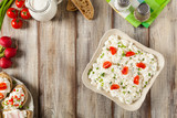 Fresh cottage cheese, served with fresh vegetables and cream. - 181442013