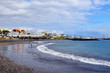 View on Torviscas beach in south Tenerife,Canary Islands,Spain.Playa de Torviscas.Travel or vacation concept.Selective focus.