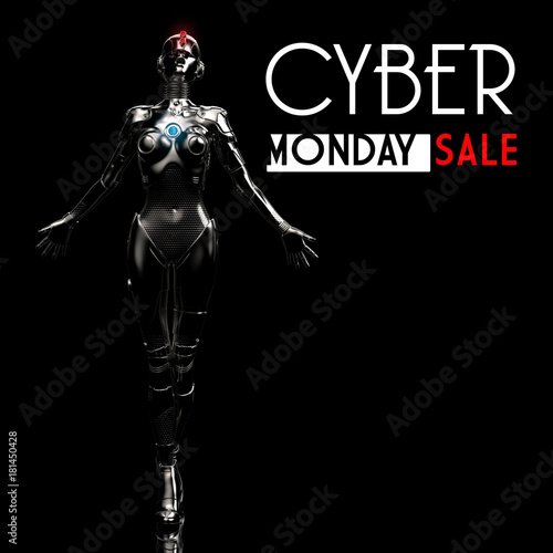 Cyber monday design with fashion cyborg the woman.