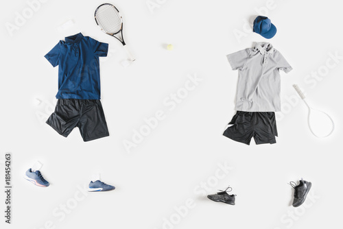 sportive clothes and tennis racquets