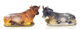 Figures of a ox and a mule for the Nativity Potal