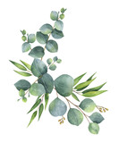 Watercolor vector wreath with green eucalyptus leaves and branches. - 181465673