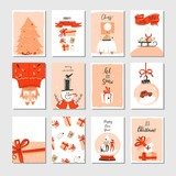 Hand drawn vector abstract big Merry Christmas time and New Year cartoon cards collection set with cute illustrations,surprise gift boxes,Xmas tree and modern calligraphy isolated on white background - 181468635