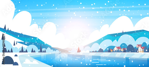 Foto op Plexiglas Wit Winter Landscape Of Small Village Houses On Banks Of Frozen River And Mountain Hills Covered With Snow Flat Vector Illustration