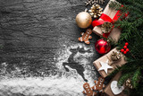 Christmas background with gingerbread, xmas tree and decoration on concrete. - 181469832