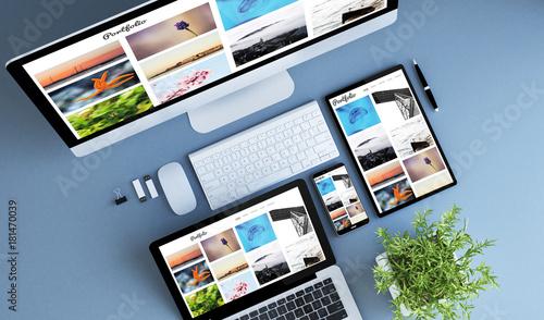 Fototapeta top view blue devices photo portfolio