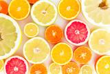 Citrus fruit pattern of lemon, orange, grapefruit, sweetie and pomelo. Fruit background. Flat lay, top view.