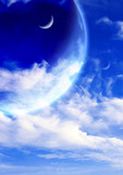Fantastic sky with white clouds and three planets