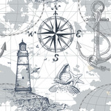 Hand drawn vector seamless sea map with compass, lighthouse, anchor and seashells. Perfect for textiles, wallpaper and prints. - 181471007