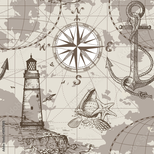 Obraz na płótnie Hand drawn vector seamless sea map with compass, lighthouse, anchor and seashells. Perfect for textiles, wallpaper and prints.