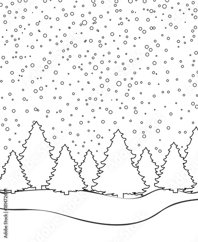 Winter landscape for coloring book page vector