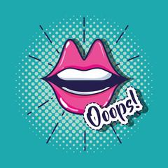 pop art mouth patch design