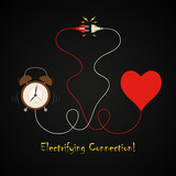 Alarm clock and heart electrifying connection background