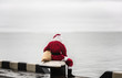 Santa claus looking look into the distance. Loneliness concept.