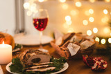 Festive New Year dinner. Traditional Christmas meat food concept - 181478228