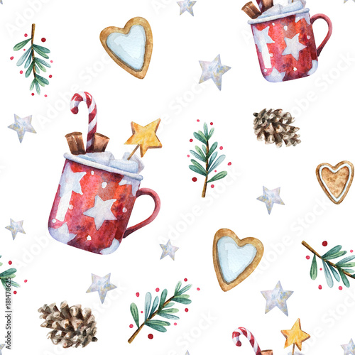 Materiał do szycia Watercolor Christmas seamless pattern with traditional decor and elements. Branches with berries, gingerbread hearts, stars, cones and red mugs with hot cocoa or chocolate, cinnamon and marshmallow.