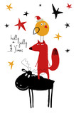 Christmas Greeting Card With Funny Moose, Fox And Bird. - 181478871