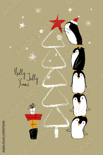 Christmas Card With Penguins And Tree.