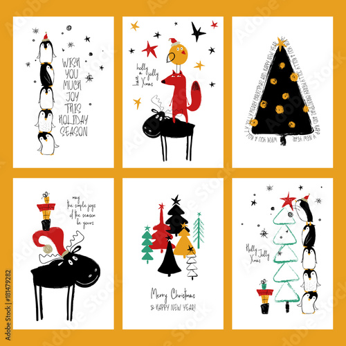 Set Of Funny Christmas Cards.