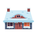 Gingerbread winter house with chimney icon. Stone farm home or rural snow cottage building in cartoon style. - 181480034