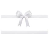 White bow tied using silk ribbon, cut out top view - 181480898