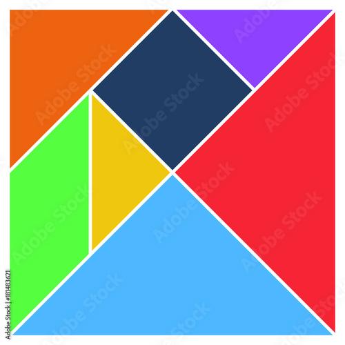 Tangram square brain game base pieces flat UI colors vector illustraition