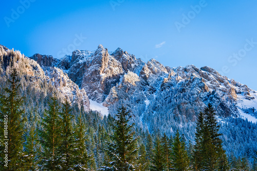 Mountain peak from Pisana glade, Koscieliska valley winter, Tatra mountains, Poland