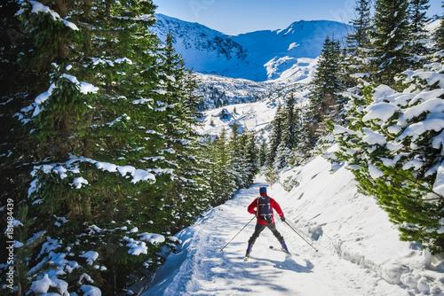 Skier going to Hala Gasienicowa, Tatra mountans, Poland