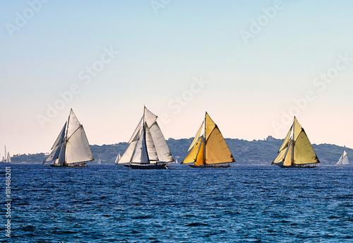 Keuken foto achterwand Schip Four old sailboats on sea