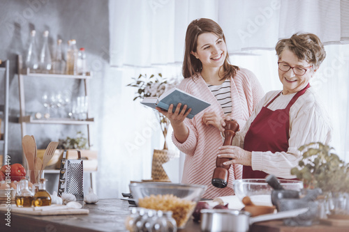 Grandmother and granddaughter have fun
